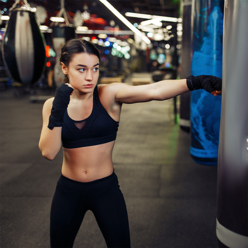 Entrainement de boxe avec bandages