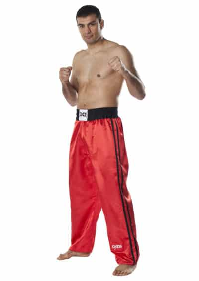 PANTALON DE KICKBOXING DAX FIGHTER SATIN ROUGE-1