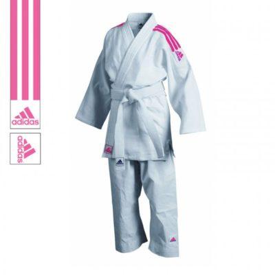 Judogi Adidas J350 Club Blanc/Rose-1
